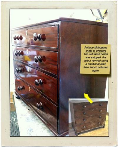 antiqu mahog chest of drawers