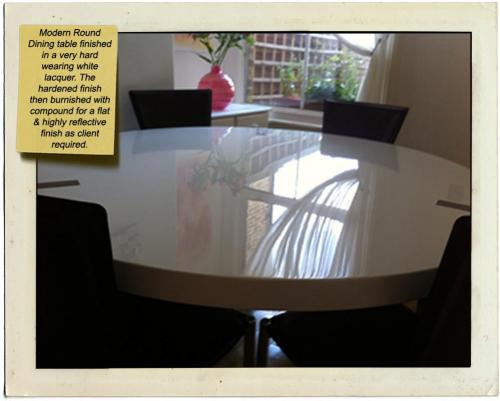 lacquered round dining table